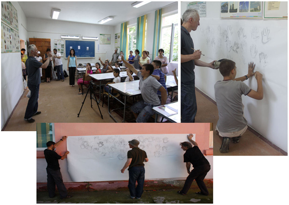 Paul Evans leading the community drawing workshop at the Măgura School of Arts & Crafts