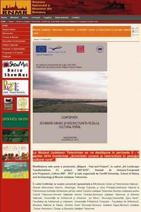 Reţeaua Muzeelor din România press release