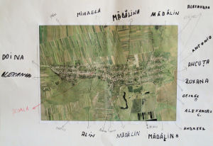 Satellite imagery of Mãgura and the Claniţa river valley annotated by the school children
